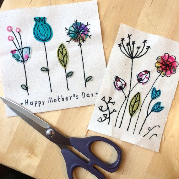 Botanical greeting card personalised textile art by DottyOnline