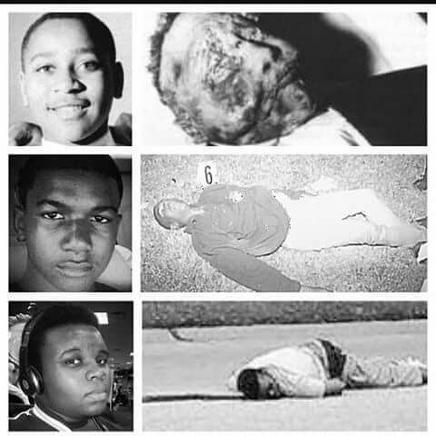 Emmitt Till (killed in the 60's), Trayvon Martin (2012), and Michael Brown (2014).