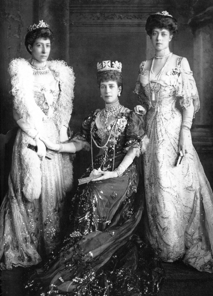 Alexandra of Denmark, Queen of Great Britain, Ireland, Empress of India with two of her daughters, HRH The Princess Maud and HRH Princess Louise Princess Royal at Buickingham Palace, 1905.