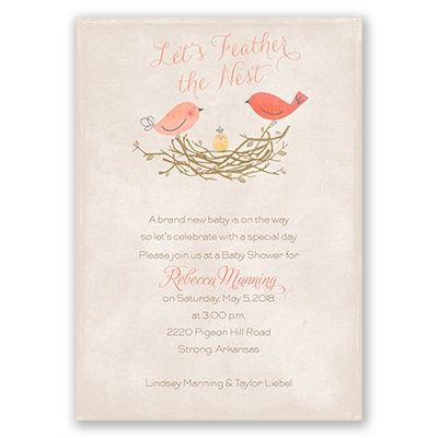 New parents will always appreciate a little 'feathering of the nest' with this bird-themed baby shower invitation from Invitations by Dawn
