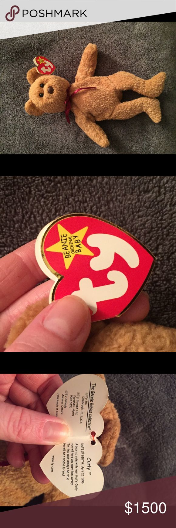 """Very Rare And Retired """"Curly"""" TY Beanie Baby Very Rare And Retired """"Curly"""" TY Beanie Baby. No stamp on inside of tush tag and hologram sticker on tush tag..both indicating limited edition. Other"""