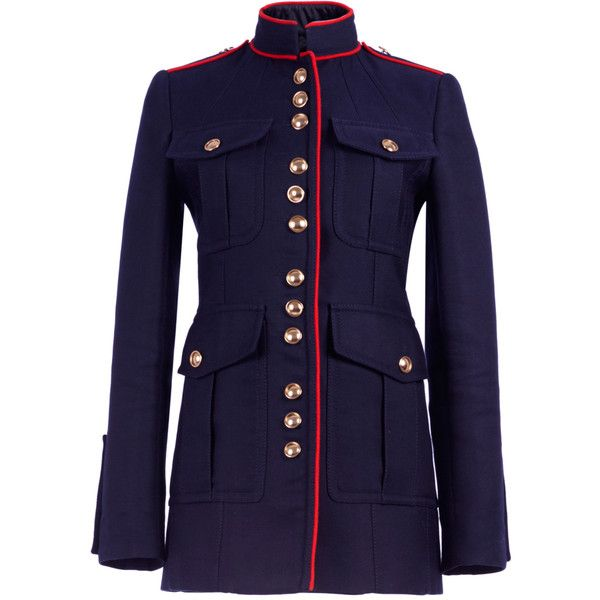 Burberry Regimental Jacket with Military Piping (€2.295) ❤ liked on Polyvore featuring outerwear, jackets, burberry, navy jacket, military inspired jacket, silk jacket and navy military jacket
