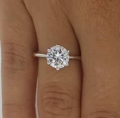 2 CT VS1/F ROUND CUT DIAMOND SOLITAIRE ENGAGEMENT RING 14K WHITE GOLD