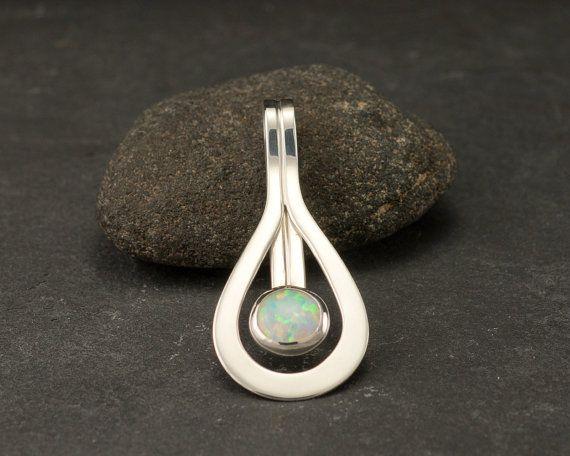 Opaal hanger  Opal Ketting  Sterling zilveren ketting met