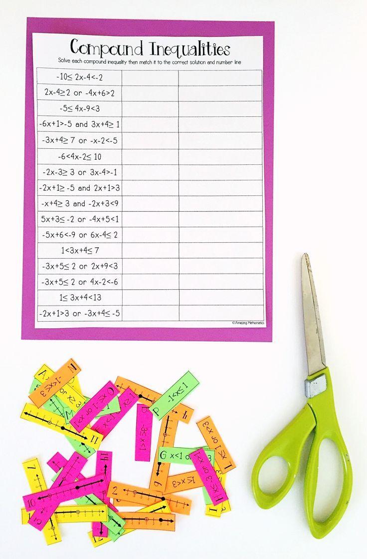 Compound Inequalities Card Match Activity Algebra