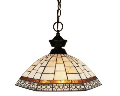 100701BRZ-Z14-35 This bronze styled pendant is equally at home in the games room as well as anywhere else needing a clean, contemporary touch. Paired sleekly with a Tiffany glass shade, this pendant will be a great addition to any room in the house.
