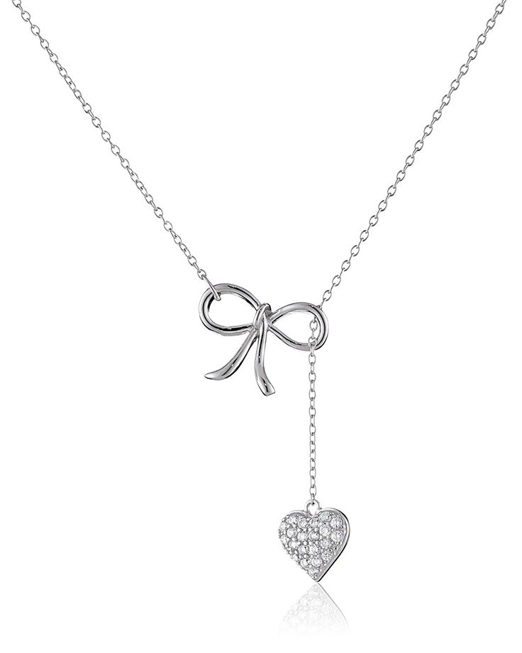 Sterling Silver Cubic Zirconia Bow and Pave Heart Lariat Necklace (0.3 cttw), 16.5' > You can find more details here : Jewelry