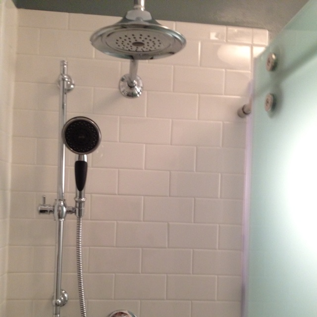 White Subway Tile With Chrome Shower Fixtures Bathroom