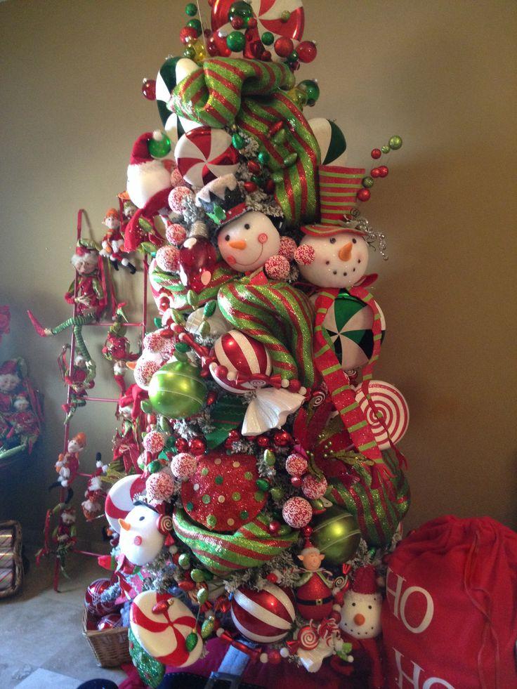 Nuevo rbol en verde blanco y rojo gran venta navide a for Arboles navidenos decorados