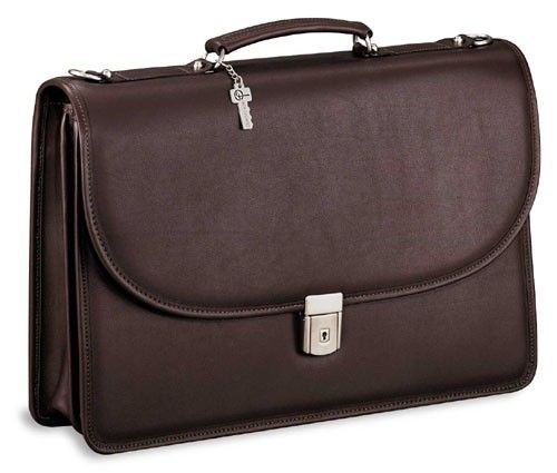 Platinum Special Edition #8415 Double gusset flap over briefcase - Brown