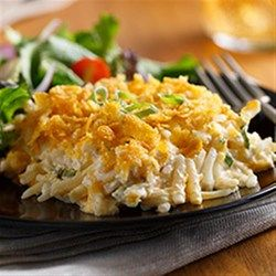Comfort food at its best, this creamy, cheesy casserole with lots of shredded hash browns works either as a main dish or hearty side.