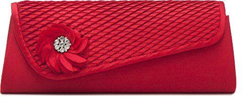 Clutch, Umhängetasche, Unterarmtasche aus Satin mit Raffung und hochwertige Blumen Aplikation mit Straßsteinen mit abnehmbarere Kette (120 cm), Farbe:Rot