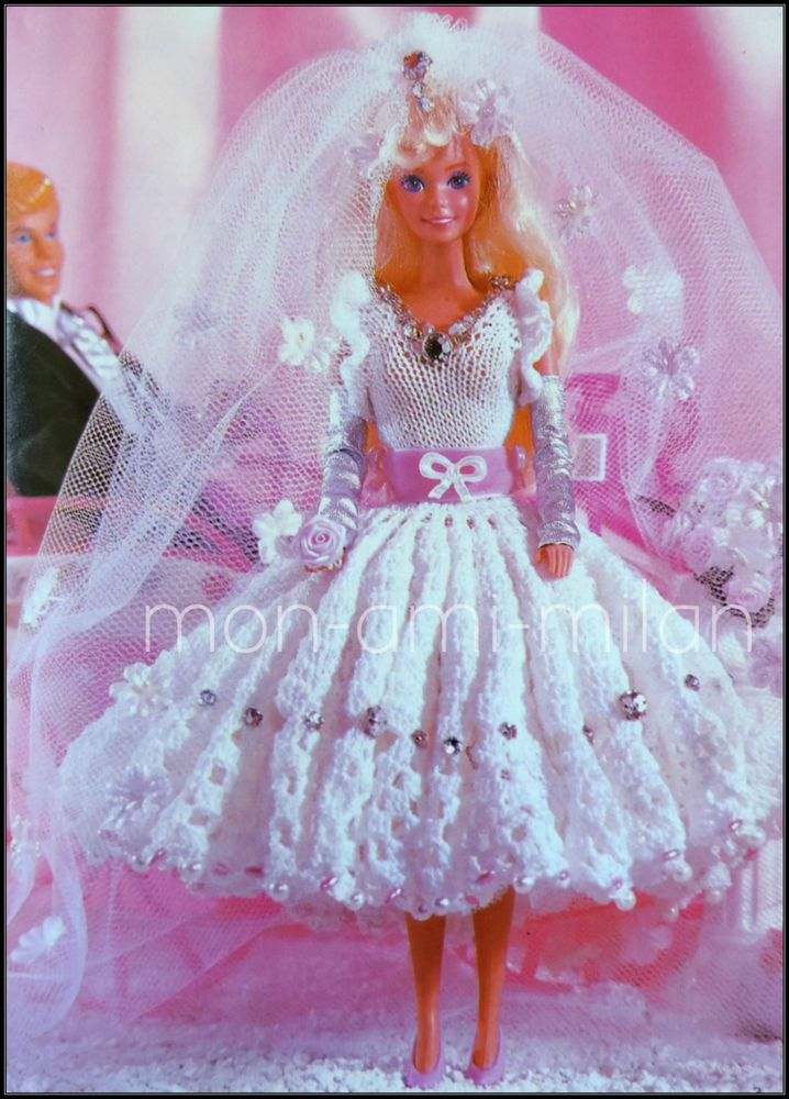 Knitting & Crochet Pattern BARBIE SINDY DOLLS CLOTHES WEDDING DRESS BRIDAL GOWN