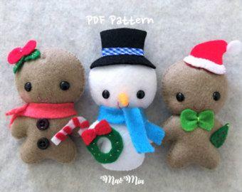 Kleine kerst bundel - Instant Download / Gingerbread Man, sneeuwpop / Kerst ornamenten / PDF patroon / kerst pluche