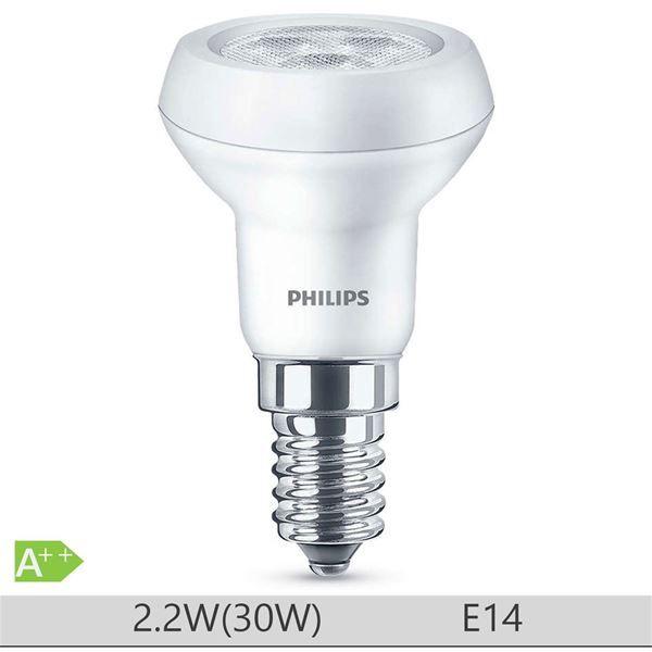 Bec LED Philips 2.2W E14 forma reflector R39, lumina calda http://www.etbm.ro/tag/149/becuri-led-e14
