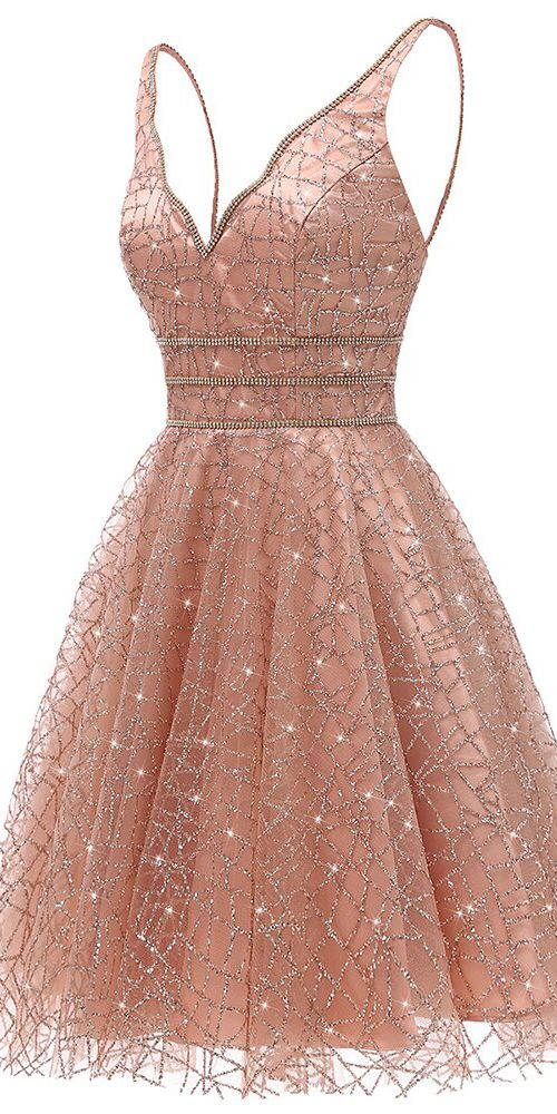 Glitter Deep V-Neck Mini Homecoming Dresses Junior Graduation Dresses OM488