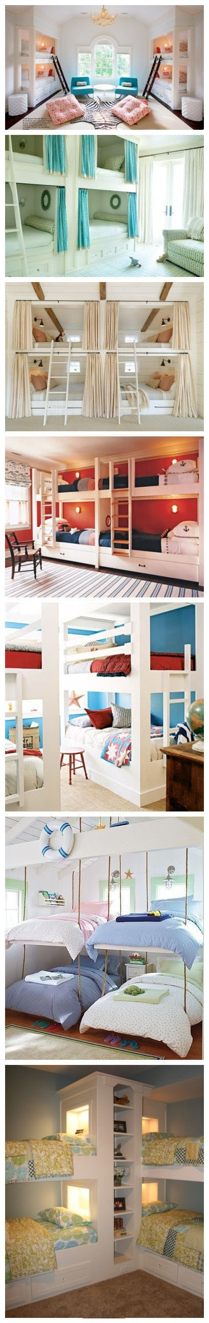 Cute ideas for kids' rooms. Plenty of space for sleepovers!