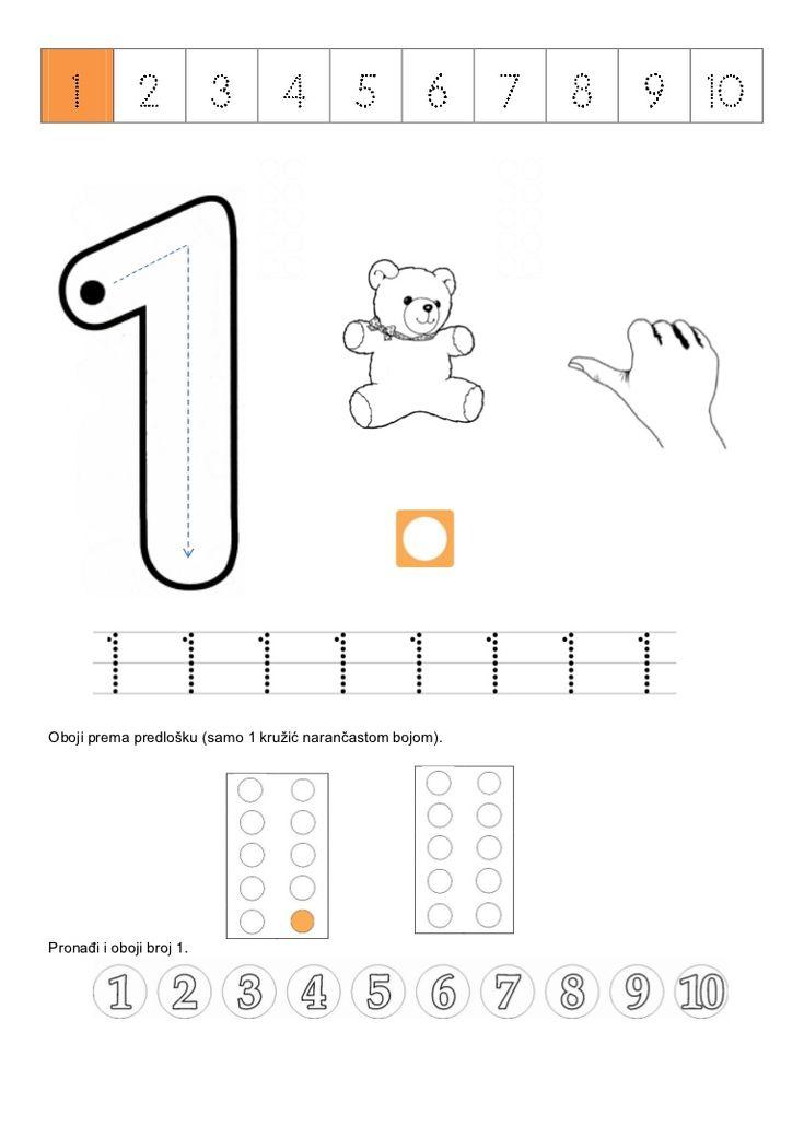 Oboji prema predlošku (samo 1 kružić narančastom bojom).Pronađi i oboji broj 1.