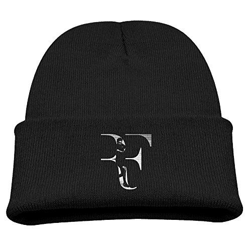 Roger Federer Rf Logo Kids Skullies And Beanies Black