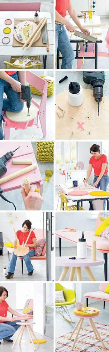 DIY sitetable #table #colors #tutorial #howto - Zelfmaakidee: Kleurrijke bijzettafel #kleur #stappenplan #handleiding Kijk op www.101woonideeen.nl
