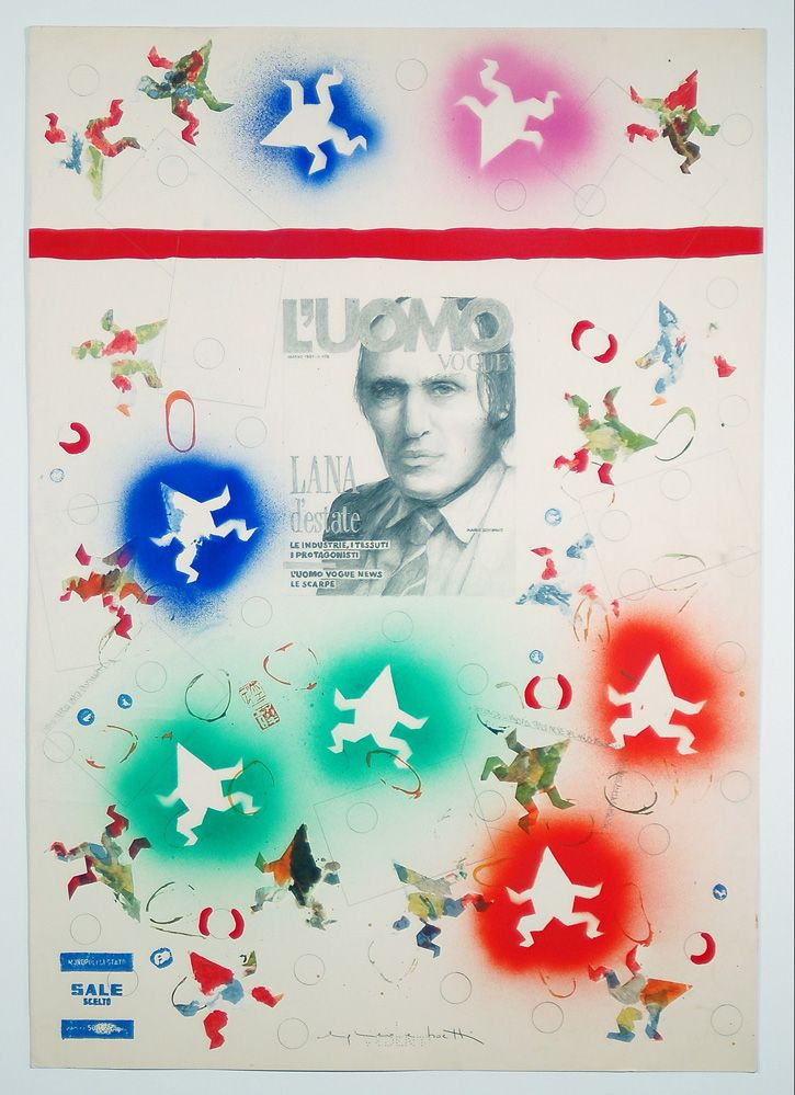 Artista: Alighiero Boetti (1940-1994) / Titolo: Amato Mario Amato Pantheon /  Anno: 1987 circa / Tecnica: tecnica mista su carta / Misure: Cm 97x69  | LARTE Esposizioni