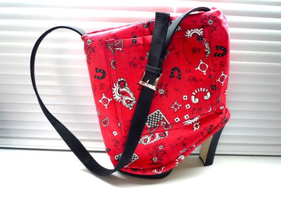 Recycled  Red Western Print  Black Shoes Purse  by junquete
