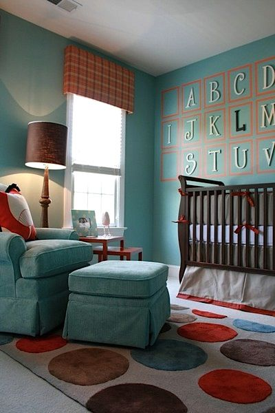 Large size ABC's mounted within frames painted onto the wall. Like the teal, brown and red for a boy-perfect with our moose theme!