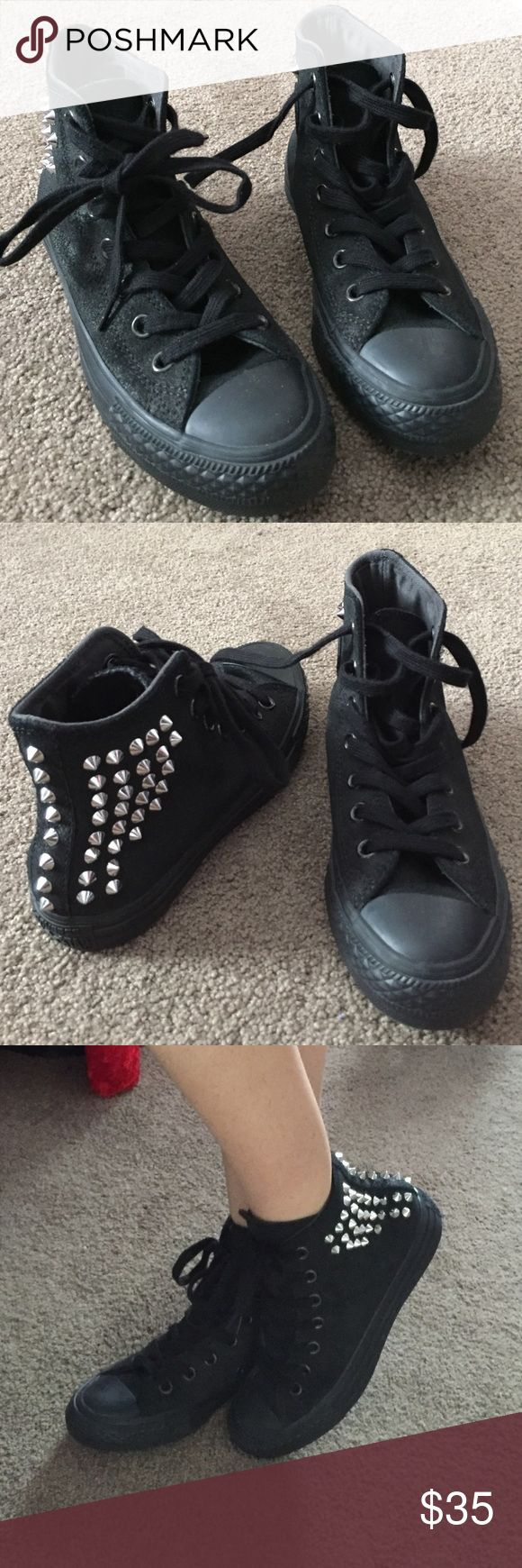 Black spiked suede converse high tops Take a look at these badass pair of black suede converse shoes. Looks great with skinny jeans. I like to go all black on black with these babies ✔️❤️. Only worn a few times! Thanks for looking! Converse Shoes Sneakers