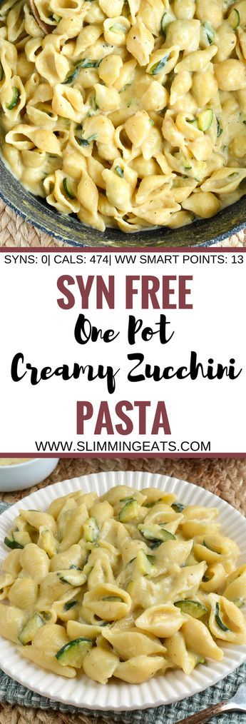 Slimming Eats Syn Free One Pot Creamy Zucchini Pasta – vegetarian, Slimming World and Weight Watchers friendly