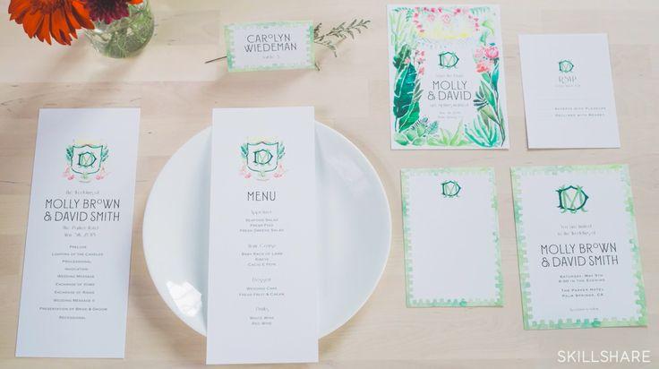 inšpiračka -  maľované veci upravené na svadobné pozvánky Watercolor Illustration: Developing a Wedding Brand Suite | Carolyn Wiedeman | Skillshare