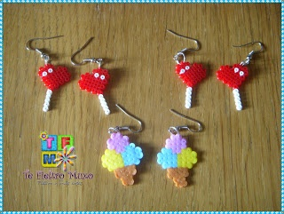 Comida - Food - Piruletas corazón y helados en pendientes - lollipops ice cream earring - PLANTILLAS Hama beads, Designs and Patterns Hama Beads