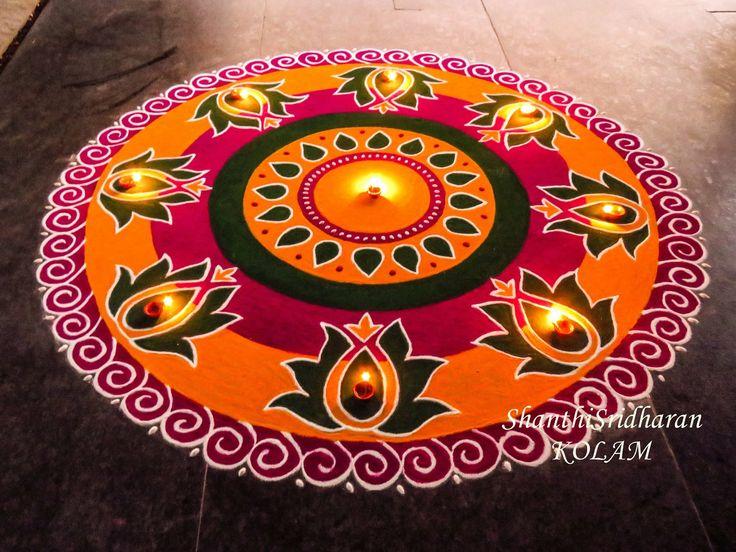 #orange#pink#green#rangoli#kolam#mandala#round#circle