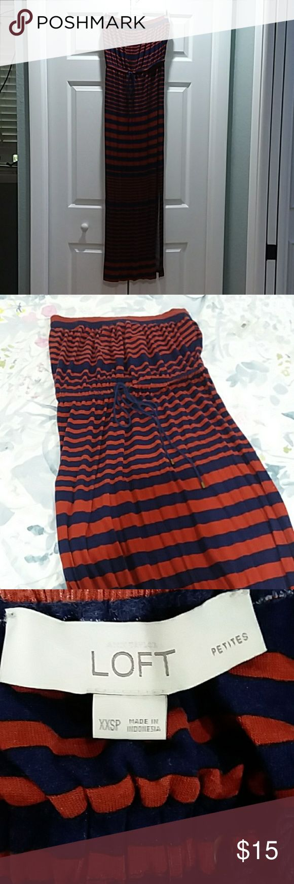Strapless maxi dress from LOFT Navy blue and blood orange strapless maxi dress. Slit up left side of dress that goes above knee. Ties at waistband. Cute and comfy! Only worn a couple of times, great condition! LOFT Dresses Maxi