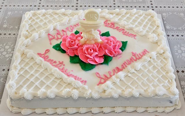 Costco cake birthday...For the girls' First Communion Cake I ordered Costco's Chocolate Cake with chocolate mousse and iced with white buttercream.