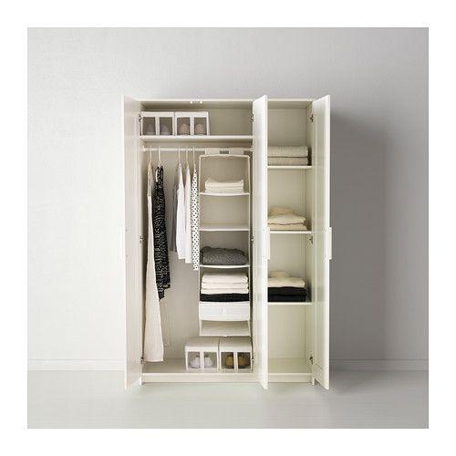 BRIMNES Wardrobe with 3 doors, white white 46x74 3/4