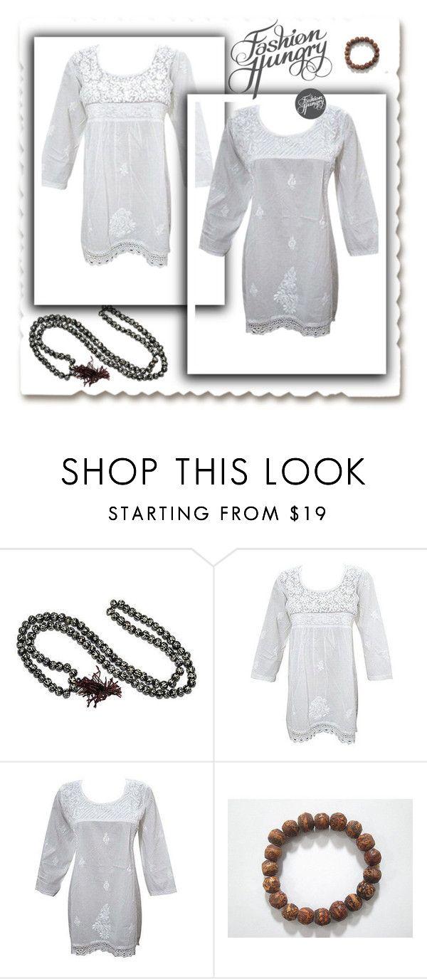 Ethnic Cotton White Tunic by baydeals on Polyvore featuring Bodhi  http://stores.ebay.com/mogulgallery/DESIGNER-KURTI-/_i.html?_fsub=665889019&_sid=3781319&_trksid=p4634.c0.m322