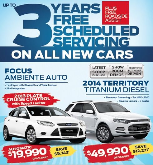 Save thousands on Focus Ambiente Auto and 2014 Territory Titanium Diesel. 3 Years free Scheduled Servicing on all new vehicles PLUS free Roadside Assist. #livedrivelove #ford #westpointford