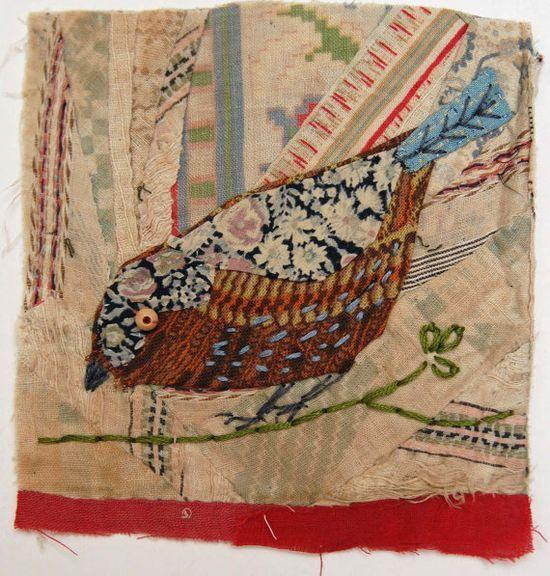 Mandy Pattullo - appliqued bird with embroidery on to vintage crazy quilt | http://beautifulbirdofparadise389.blogspot.com
