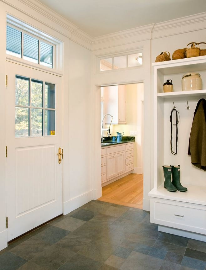 Classic mudroom. Love the slate floor for our laundry room