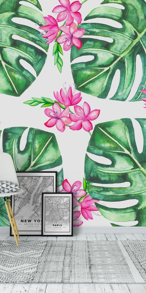 Tropical Flowers And Monstera Wallpaper Wall Murals Mural Tropical Flowers