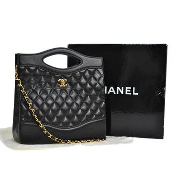 a85cc2a60e6b Chanel Quilted Cc Logos Chain 2way Hand France Black Tote Bag. Get one of  the hottest styles of the season! The Chanel Quilted Cc Lo…