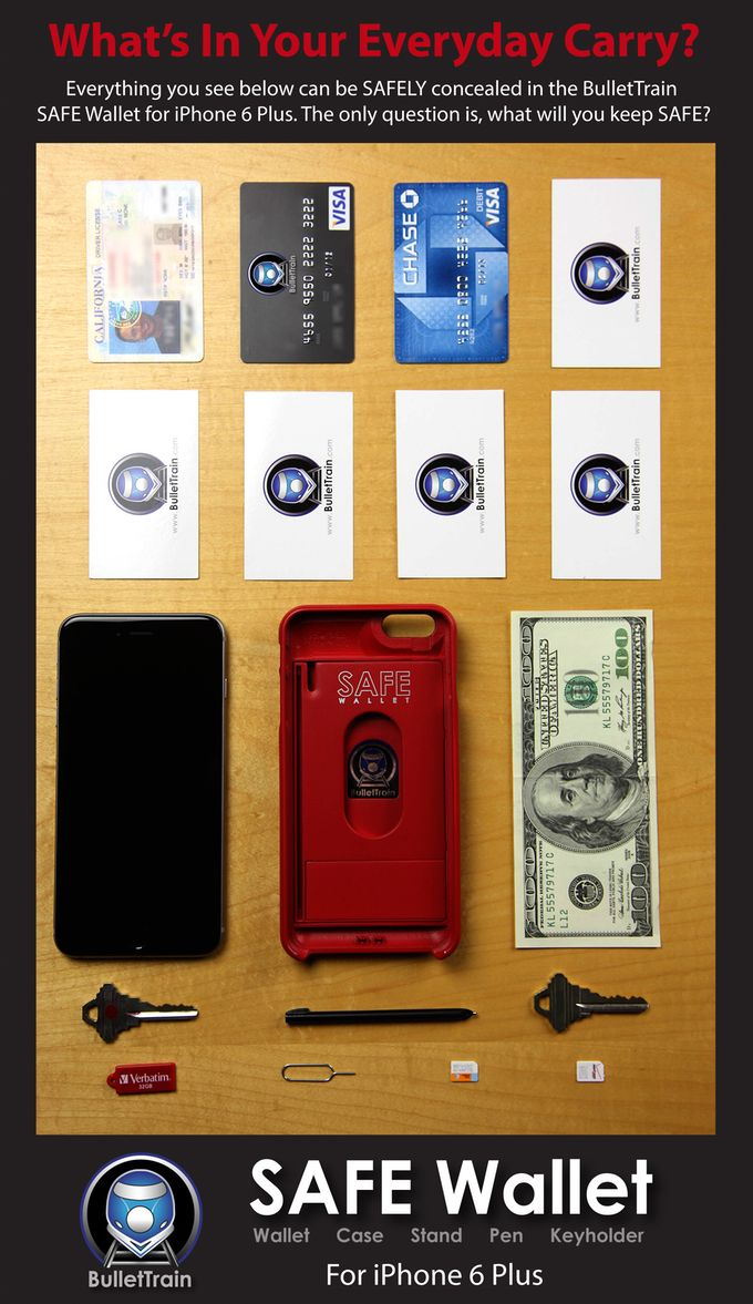 SAFE Wallet Case for iPhone 6 Plus by BulletTrain — Kickstarter