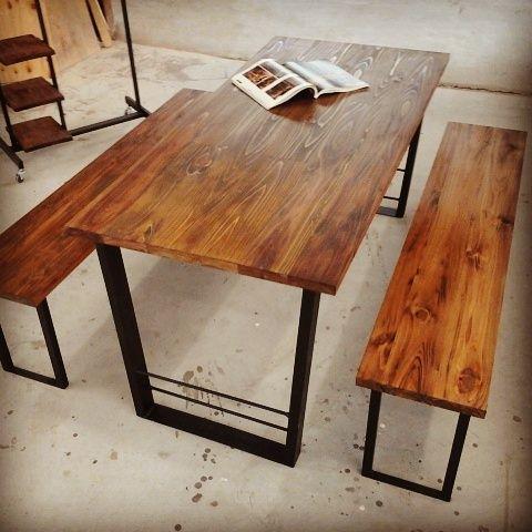 ダイニングテーブル&150cmのベンチ2脚セット