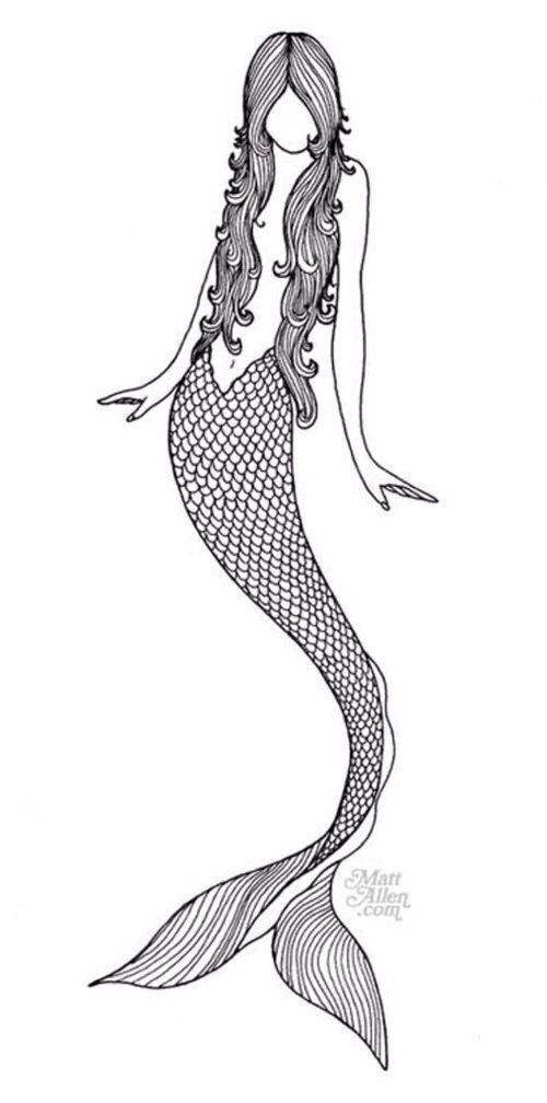 Beautiful Simple Line Art : Mermaid black white drawing art drawings