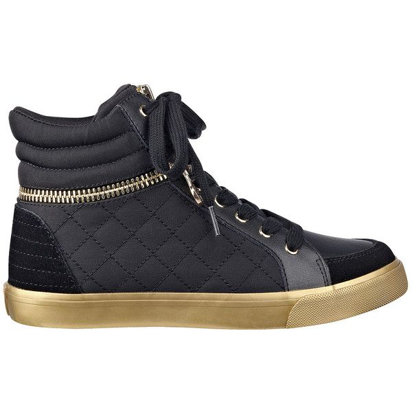 GUESS Genio High-Top Gold Zipper Sneakers ($62) ❤ liked on Polyvore featuring shoes, sneakers, black multi fabric, black high tops, black platform sneakers, guess sneakers, gold sneakers and gold high tops