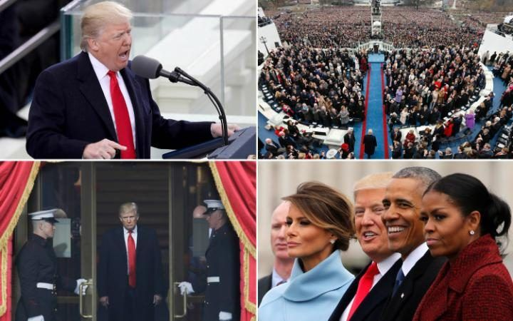 """Donald J Trump has been sworn in as the 45th President of America and vowed to rebuild the country using """"American hands"""". But as the ceremonies continue in Washington DC, anti-Trump protests are under way in New York and other parts of the United States. Keep checking this rolling gallery for the latest images"""