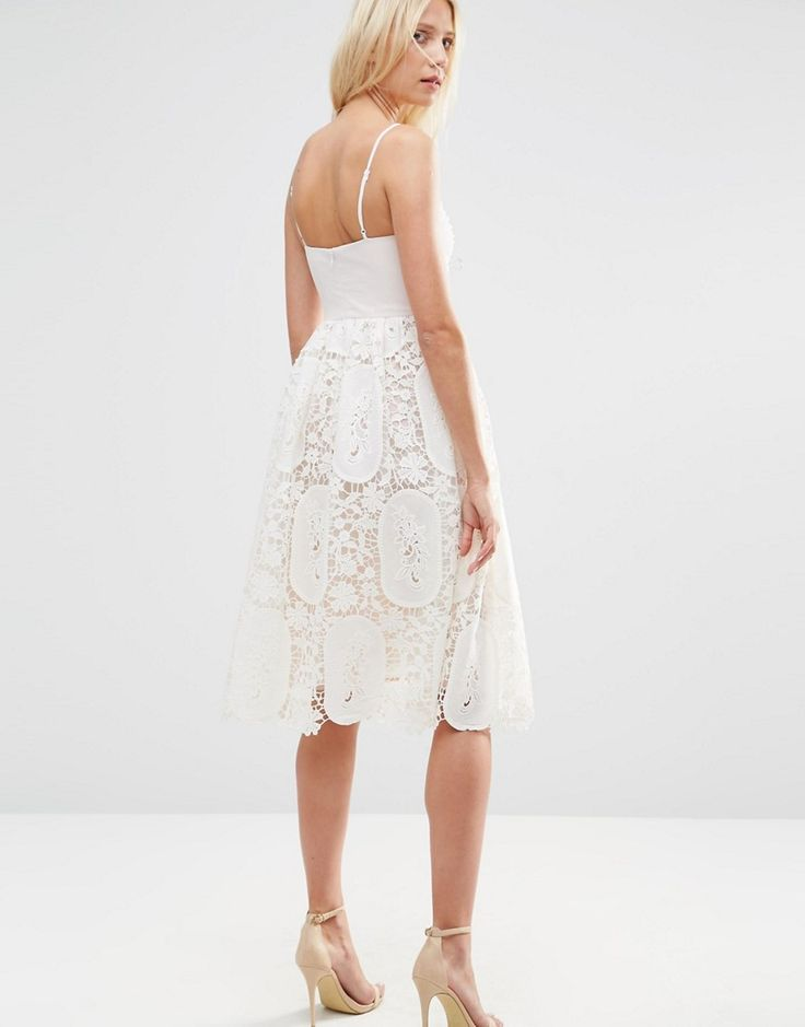 ASOS Prom Dress With Pleat Bust And Lace Skirt - Pink