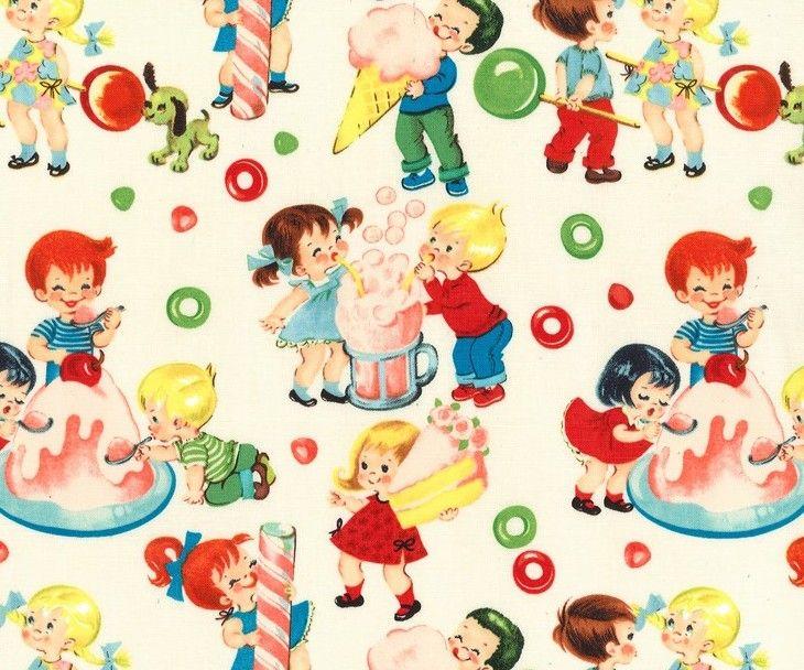 Candy Shop, Michael Miller Children's Retro Cotton Fabric