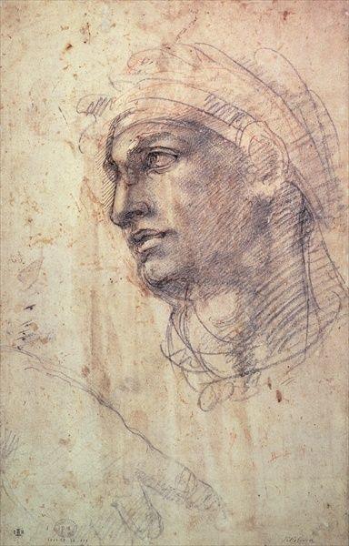 'Study of a Head' by Buonarroti Michelangelo
