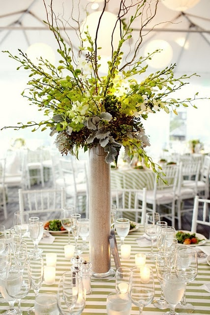 another nice tall arrangement that incorporates dusty miller and taller branches